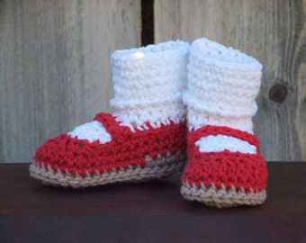 Red Mary Jane Booties, size Small (6 month)
