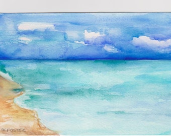 Aruba seascape watercolors painting original, 4 x 6 inches, Original painting, ocean art, beach watercolor, SharonFosterArt