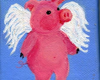Petite Flying Pig Original painting on mini canvas with Easel