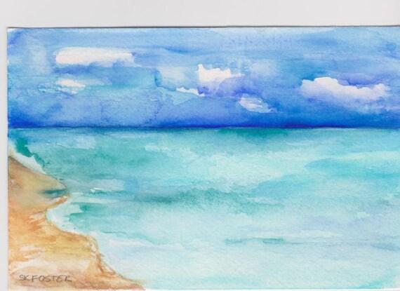 Acquerelli di paesaggi marini di aruba pittura originale 4 x for Paesaggi marini dipinti