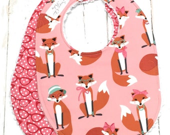 Baby Bibs for Girl  - Set of 2 Triple Layer Chenille  - Foxes, glasses, pink, red - PINK FABULOUS FOXES