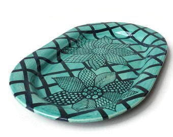 Large Oval Platter - Black and Turquoise Doodle Design