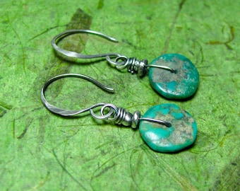 Rustic Turquoise - Turquoise and Sterling Silver Earrings