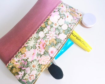 Small Makeup Bag, Leather Toiletry Bag for Women, Leather Zipper Pouch, Travel Cosmetic Bag, Beauty Bag, Travel Make up Bag, Leather Pouch