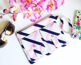 Pink Quilt Stripes Wristlet Wallet, Linen Striped Wallet Wristlet, Zipper Wallet, iPhone Wristlet, Fabric Wallet, 144 Collection