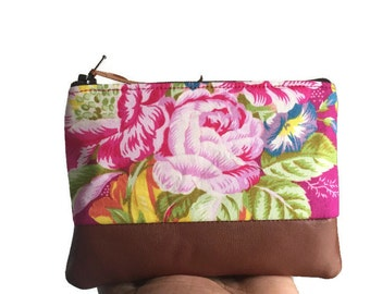 Garnet Peony Brown Leather Pouch, Small Pink Leather Change Wallet, Leather Coin Purse, Fabric Coin Wallet, Floral Zipper Pouch Wallet