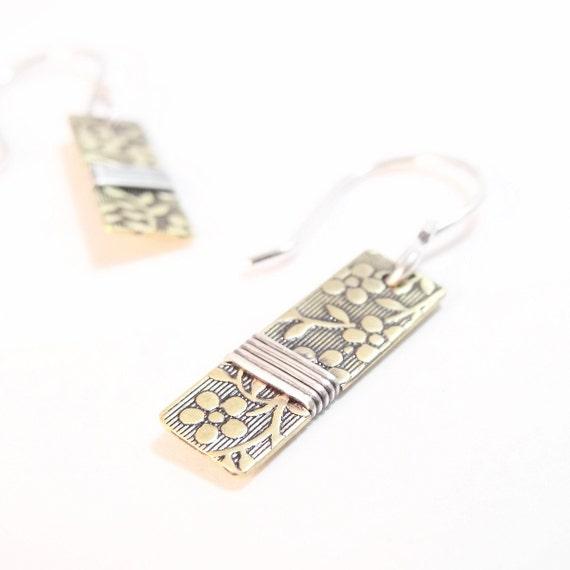 Silver Earrings, Brass Earrings, Aloha Floral Earrings, Patterned Drop Earrings, Dangle Handmade Earrings - Sunflower or Aloha Patterns