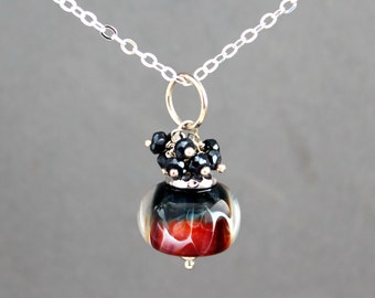 Sterling Silver Necklace, Lampwork Bead Necklace