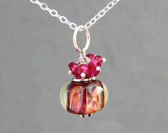 Sterling Silver Necklace, Pink Lampwork Necklace, Ruby Necklace