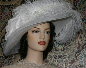 Kentucky Derby Hat Ascot Hat Downton Abbey Tea Hat Edwardian Hat Wide Brim White Hat - Lady Adella