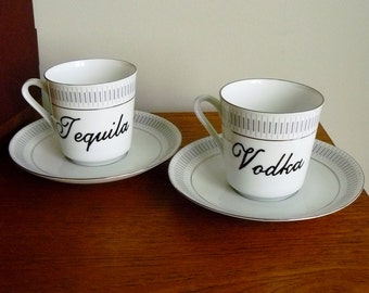 Vodka Tequila hand painted vintage porcelain tea or coffee cup and saucer sets x 2 recycled boozy teatime