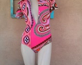 Vintage 1960s Bodysuit Romper Playsuit Mod Pink Pucci Style Small Medium 201673