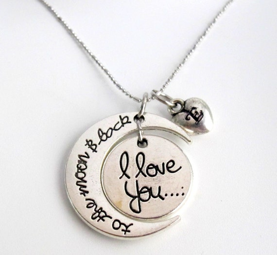 I love You To The Moon And Back Necklace, Moon Heart Necklace,Moon necklace ,Crescent moon Personalized Heart Initial Free Shipping In USA