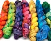 Rainbow Mini-skeins- 7 Colors, 609 yds/140 g Sock Yarn- Hexipuffs, Granny Squares, Fairisle, Intarsia, Amigurumi