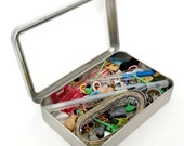 Rectangular Metal Stitch Marker or Notions Tin with Clear Hinged Top-  holds tools, needles, thimble, scissors, tape measure