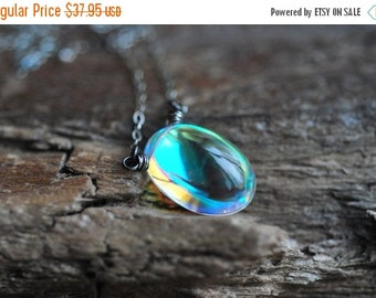ON SALE Mystic Rock Crystal Necklace Sterling Silver Quartz Oval Rainbow Pendant Rainbow Prism Jewelry Rainbow Gift Jewelry for Her Gift for