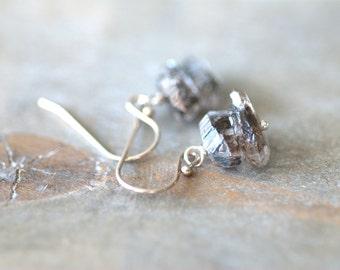 Herkimer Diamond Earrings Sterling Silver Jewelry Herkimer Diamond Jewelry Diamond Quartz Jewelry Black Silver Earrings Gift for Her