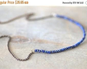 ON SALE Blue Lapis Necklace Long Blue Lapis Brass Necklace Blue Jewelry Blue Necklace Simple Blue Necklace Minimalist Blue Jewelry Gifts for