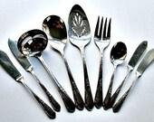 Rogers Silverplate Flatware Meadowbrook AKA Heather Pattern 9 Serving Pcs / Ladle Butter Knives Pastry Server Sugar Spoon Serving Spoon Fork