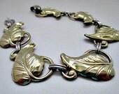 Gold Filled Leaf Vintage Bracelet -Mid Century Gold Filled Jewelry- Estate Jewelry Gift