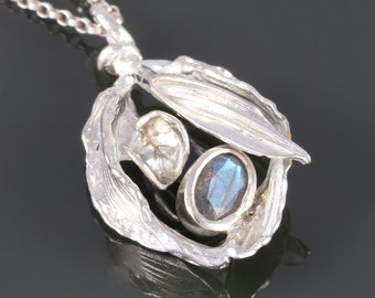 Labradorite Pendant. Leafy Design. Sterling Silver Necklace. Genuine Labradorite. One of a Kind. Gift for Her. s16p015