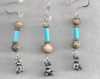 Pewter Rabbit Jewelry Set