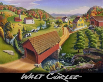 Folk Art Appalachian Covered Bridge Americana Landscape Signed Print, Rural Country Farm Art