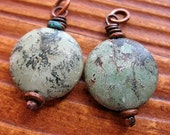Rugged Turquoise Jasper Coin Bead Charms - 1 pair