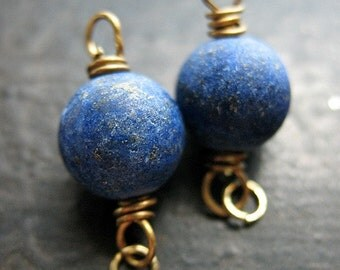 Lapis Lazuli and Antiqued Brass Bead Connectors - 1 pair