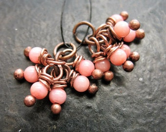 Pink Coral Seedling Bead Charms - 1 Pair