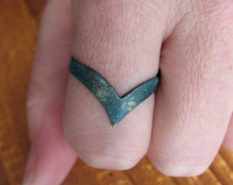 Adjustable Brass Chevron Ring in Teal Patina