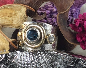 London Blue Topaz & White Zircon Sterling Silver Ring - Size 9.5