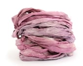 10metres handdyed recycled sari silk ribbon, Blackcurrant Sorbet, purple lilac thistle, textile arts