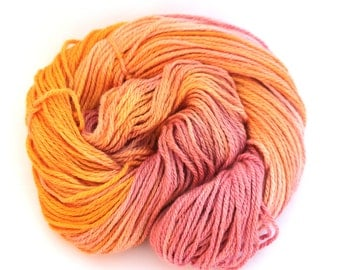 Hand dyed worsted aran wool, handdyed merino silk wool, pink orange yellow knitting crochet yarn, Perran Yarns Fruit Salad, uk seller