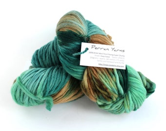 Superchunky British wool, mega bulky pencil roving hand dyed Deep Forest, knit crochet Perran Yarns, dolls hair, dread falls, brown green