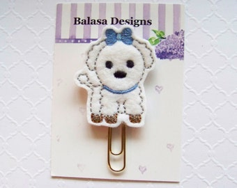 White Maltese Puppy Dog Blue Bow Planner Clip, Bookmark, Planner Accessory, Paper Clip