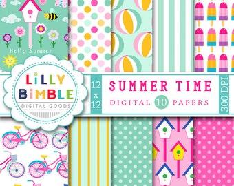 Summer Time digital papers in orange, mint, pink, beach balls, bikes, birdhouses scrapbooking paper INSTANT DOWNLOAD