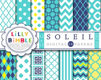 40% off SOLEIL digital paper, scrapbook, teal, yellow, navy quatrefoil, chevron, polka dots, turquoise Instant Download