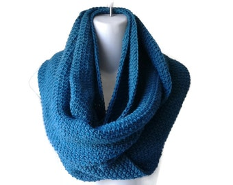 Mediterranean Blue Baby Alpaca Infinity Scarf Teal Circle Scarf Turquoise SAMANTHA Ready to Ship - Winter Fashion