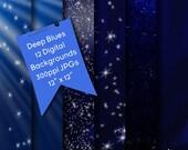 Beautiful Blues Digital Backgrounds, Cobalt Blue Digital Backgrounds, Digital Papers, Night Time Skies With Stars, Milky Way Stars, Digitals