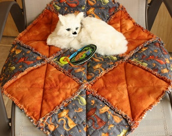 Cat Blanket, Cat Quilt, Cat Bed, Handmade Cat Bed, Colorado Catnip Bed, Rust Cat Bed, Fabric Cat Bed, Travel Cat Blanket, Cat Bed With Toy