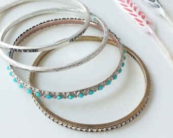 Vintage Bracelets for Women Set of 4~ Stacking Antique Bangles~ Turquoise Silver Bracelets~ Antique Jewelry~ Layer Bangles~ Trending Jewelry