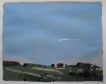 Evening Farm, Original Summer Landscape Painting on Paper, Stooshinoff