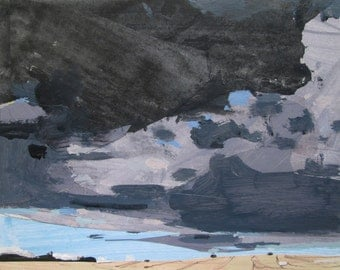 March Sky, Original Winter Landscape Collage Painting on Panel, Stooshinoff