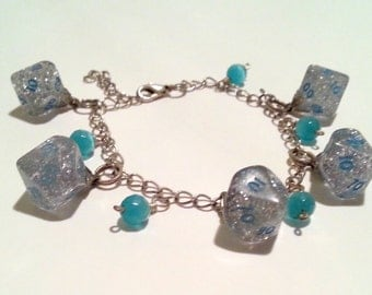 Glittery Blue D10 Charm Bracelet for the Nerdy Jewelry Connoisseur