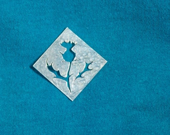 Thistle brooch - a simple, square brooch with iconic highland flower design and hammered texture