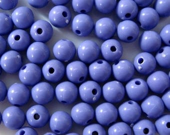 6mm High Gloss Purple Opaque Acrylic Bead 100pcs