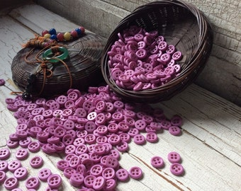Chunky buttons/purple-pink vintage set of 25