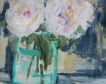 Roses in a Glass Jar Vase Art Original Painting Acrylic Mothers Day Shabby Chic Country Home Romantic by Artist Debra Alouise