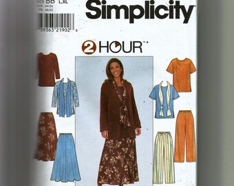 Simplicity Misses' Top, Skirt, Pants and Scarf Pattern 8226